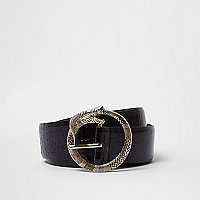 Black croc embossed snake buckle belt
