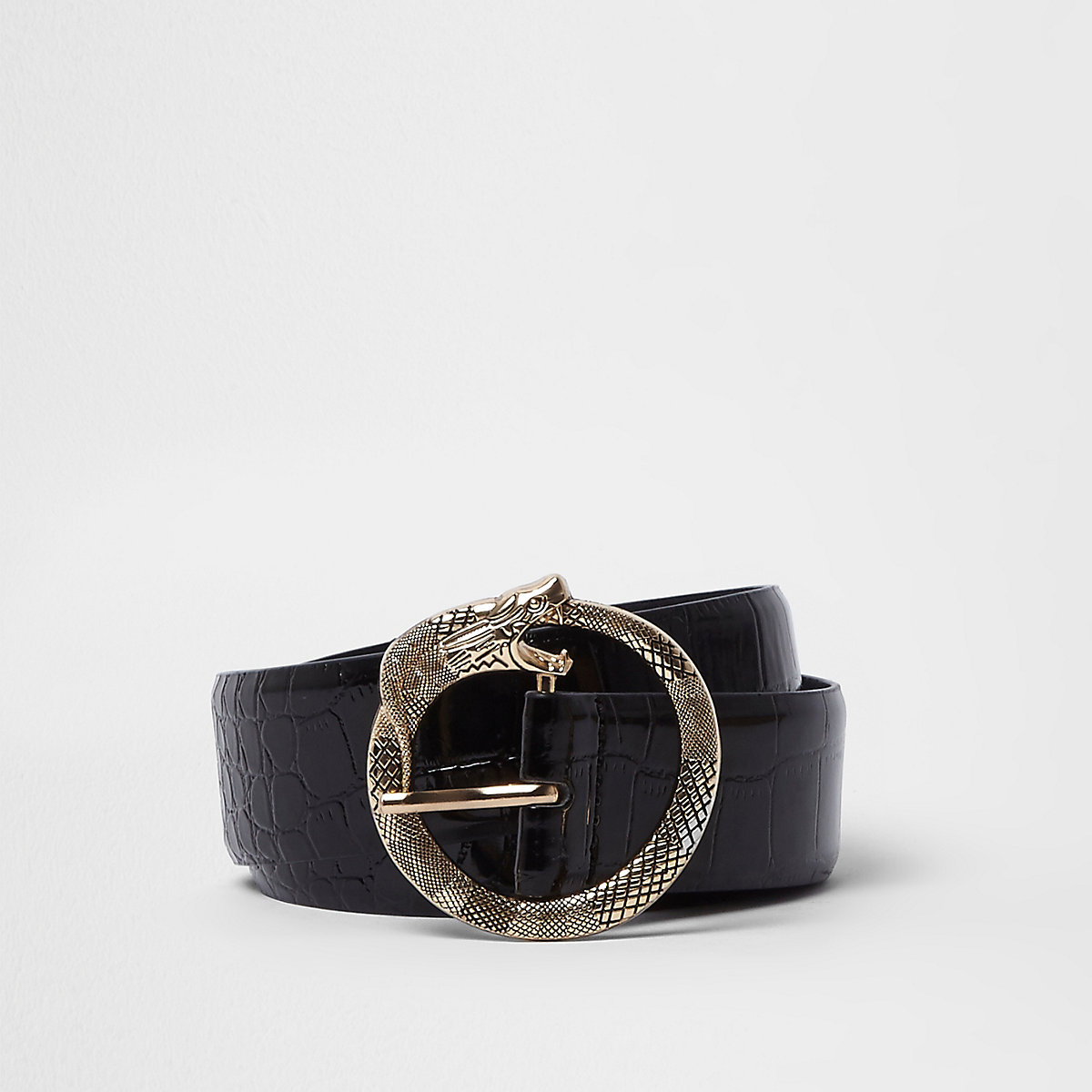 Black croc embossed snake buckle belt