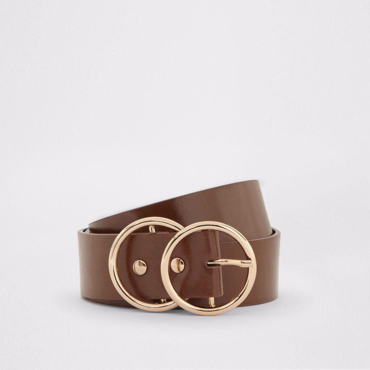 Bruine jeansriem met olie-afwerking en dubbele ring