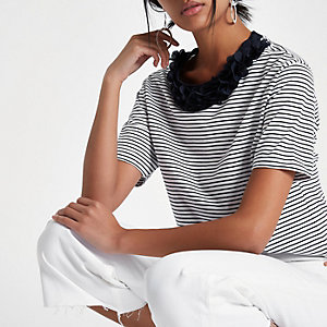 Navy stripe flower neck boxy T-shirt