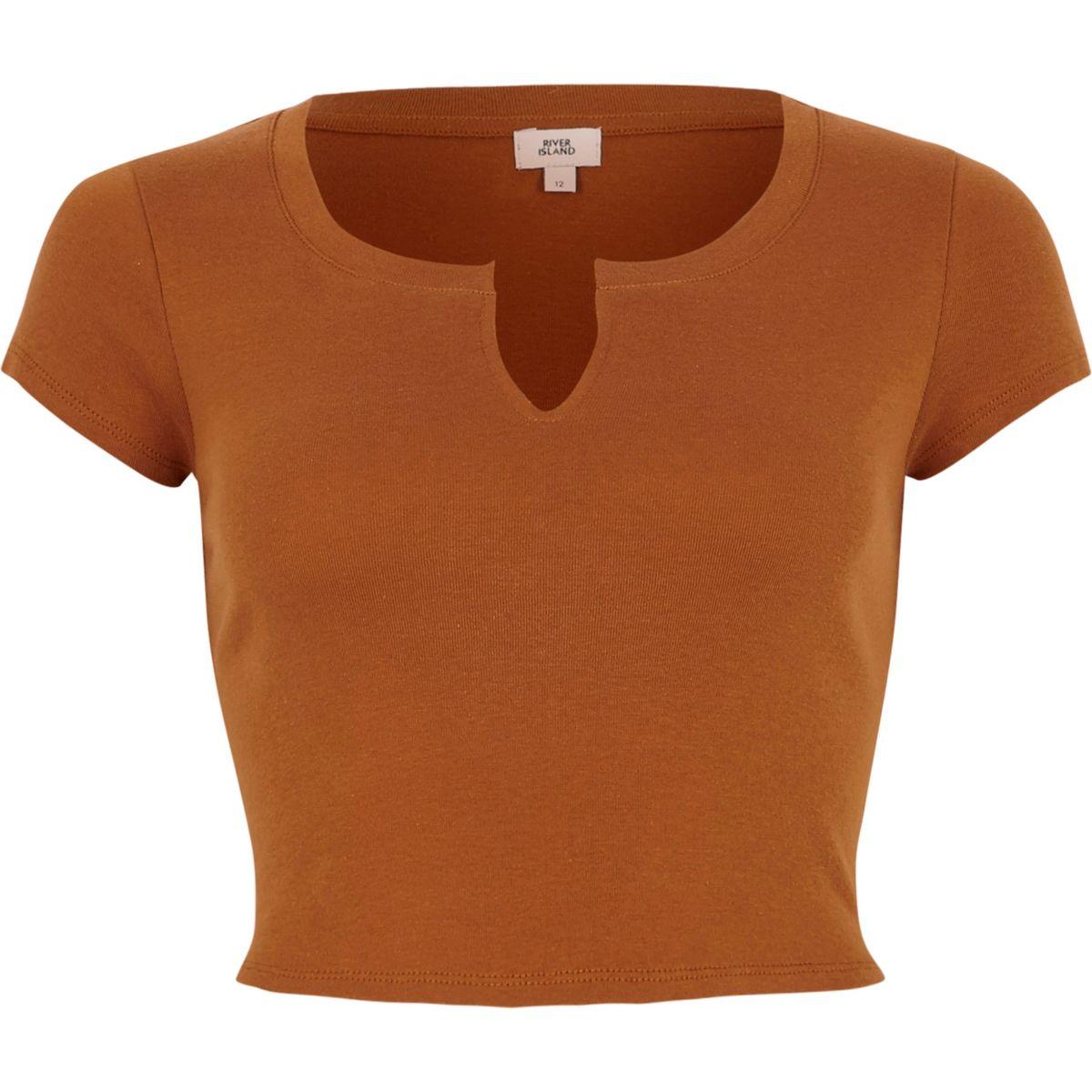 Bruin cropped T-shirt met inkeping voor