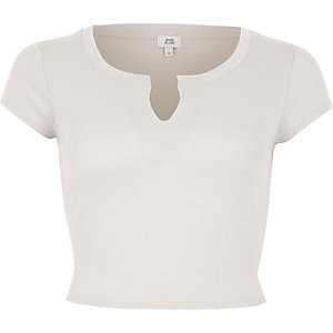 Cream notch front crop top