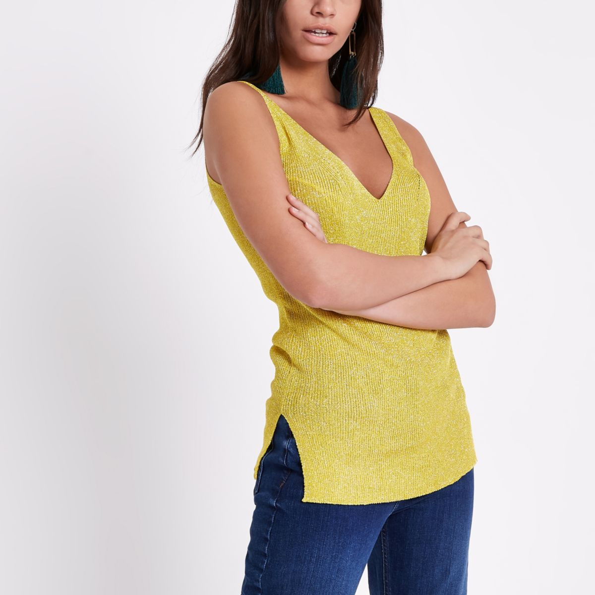 Yellow metallic stitch knit vest