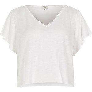 T-shirt court gaufré blanc à col en V