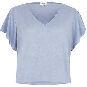 Light blue waffle cropped V neck T-shirt