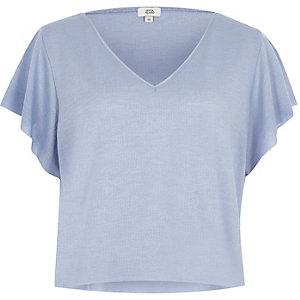 T-shirt court gaufré bleu clair à col en V