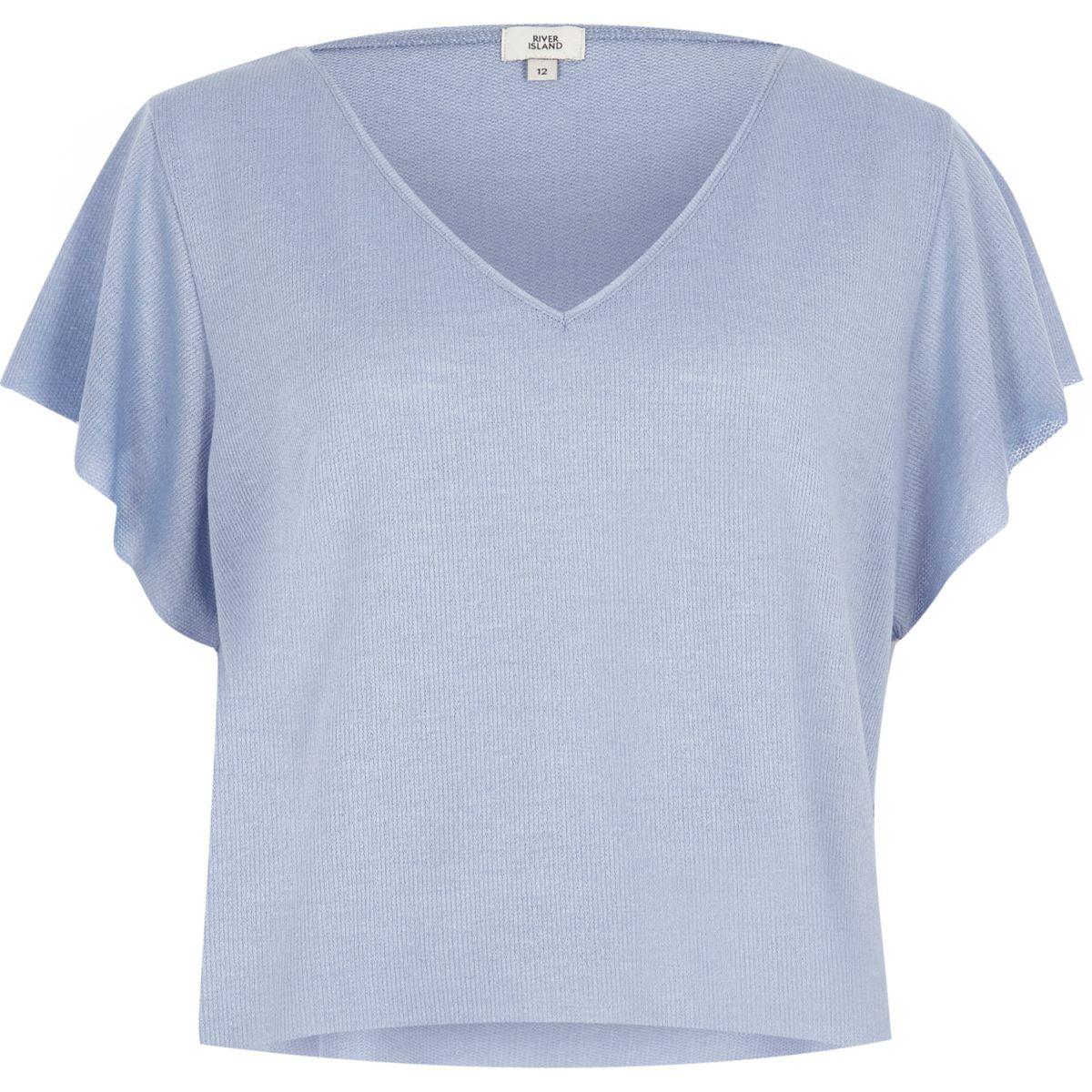 Light blue waffle cropped V neck T-shirt