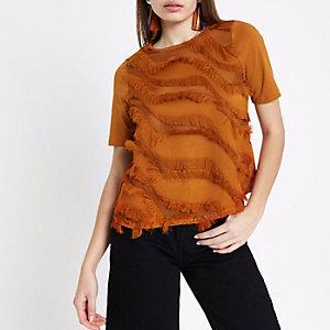 T-shirt coupe carrée fauve à franges