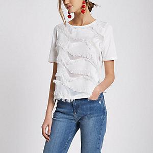 T-shirt blanc coupe carrée à franges