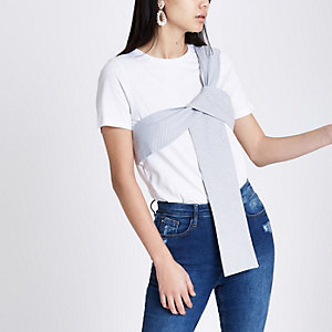 White stripe print bow front T-shirt