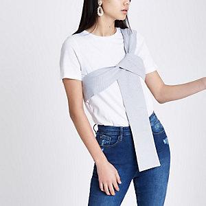 White stripe print bow front T-shirt