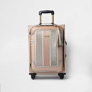 Valise à empiècement beige pailletée à quatre roues