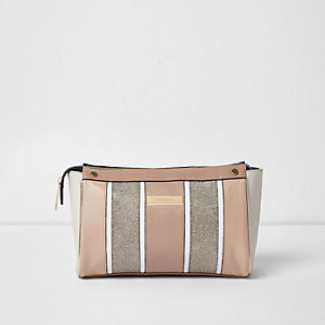 Beige metallic panel makeup bag