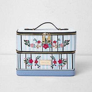 Blue stripe floral embroidered vanity case