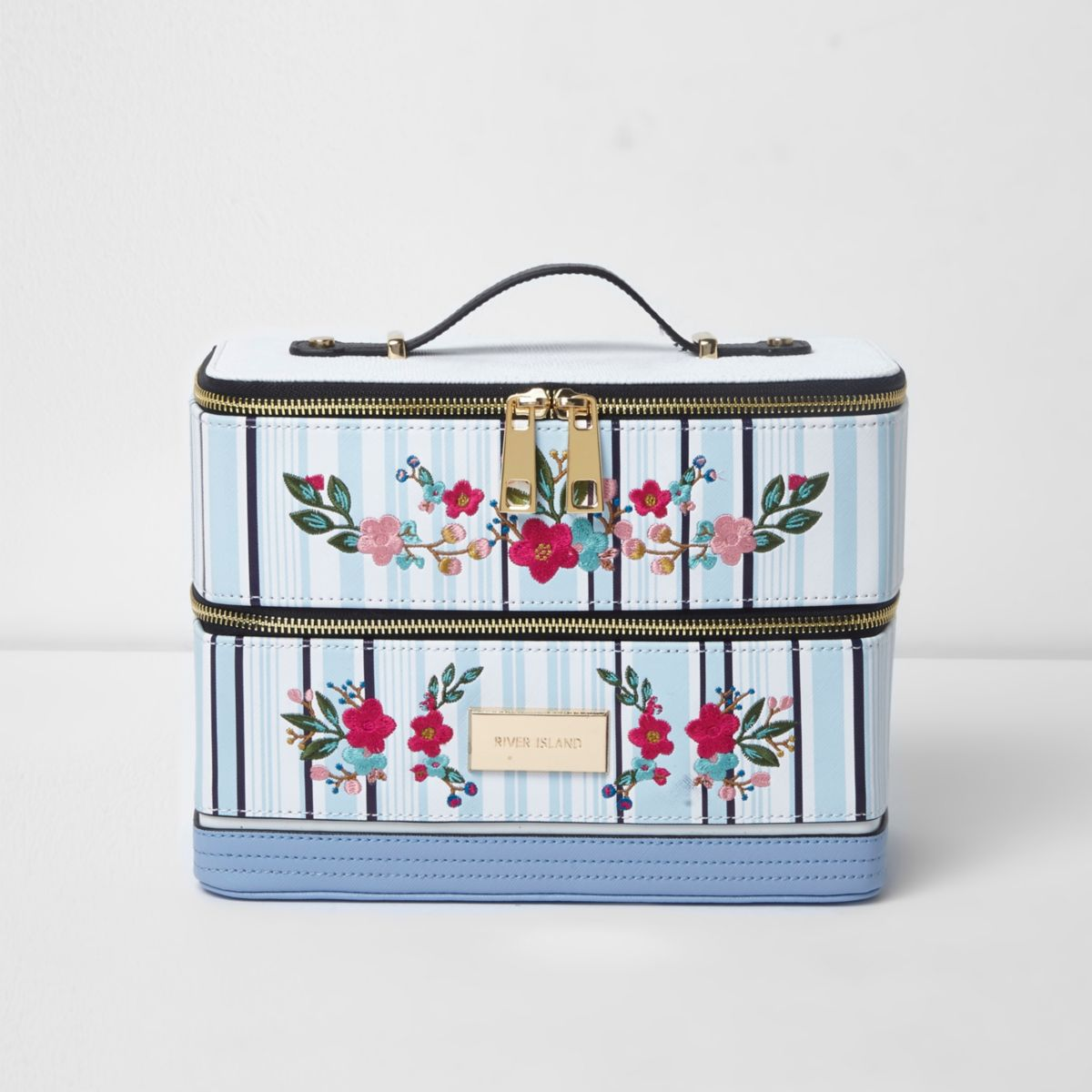 Blue stripe floral embroidered vanity case