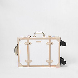 White RI monogram trunk four wheel suitcase