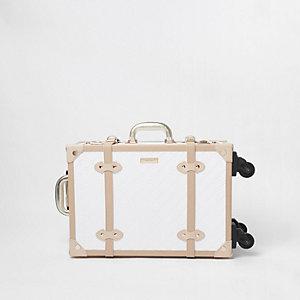 RI – Valise blanche à quatre roues avec monogramme
