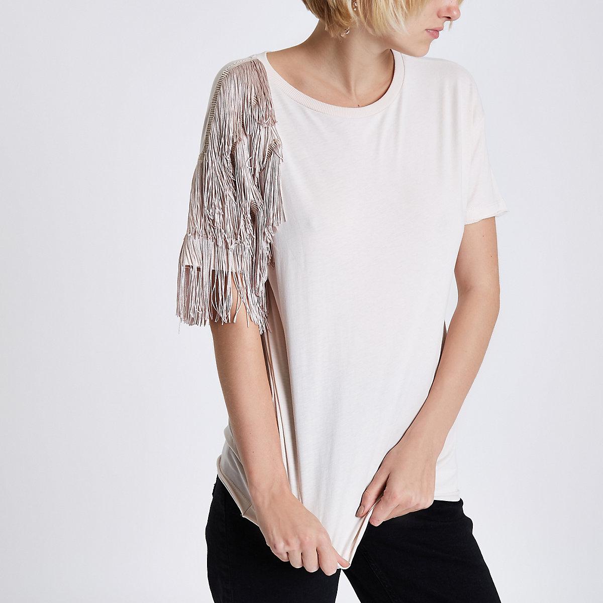 Beige asymmetric fringe shoulder T-shirt