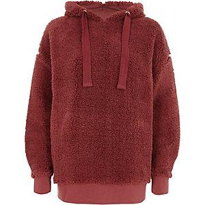 Dark pink fleece hoodie