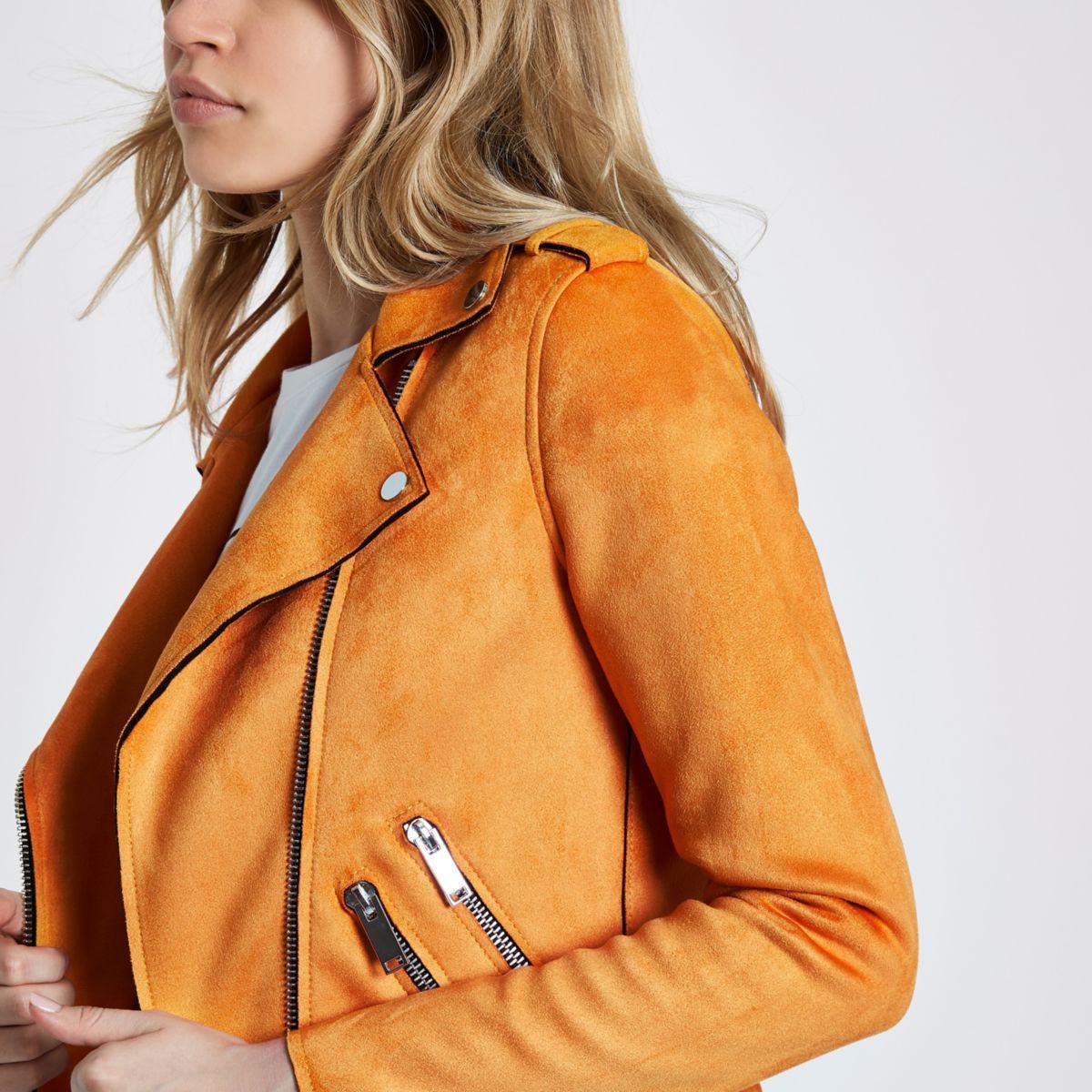 Orange faux suede biker jacket