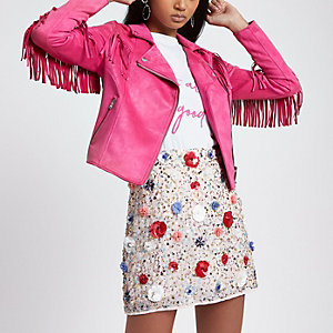 Bright pink faux suede fringed biker jacket