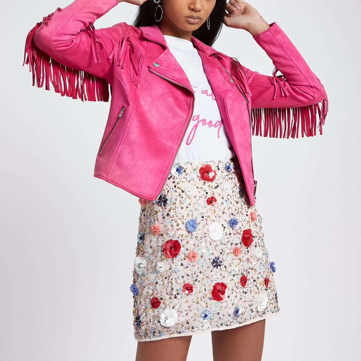 Bright pink faux suede fringed biker jacket