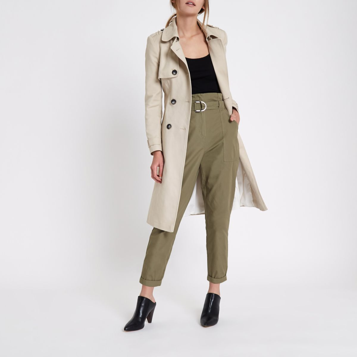 Khaki green paperbag tapered pants