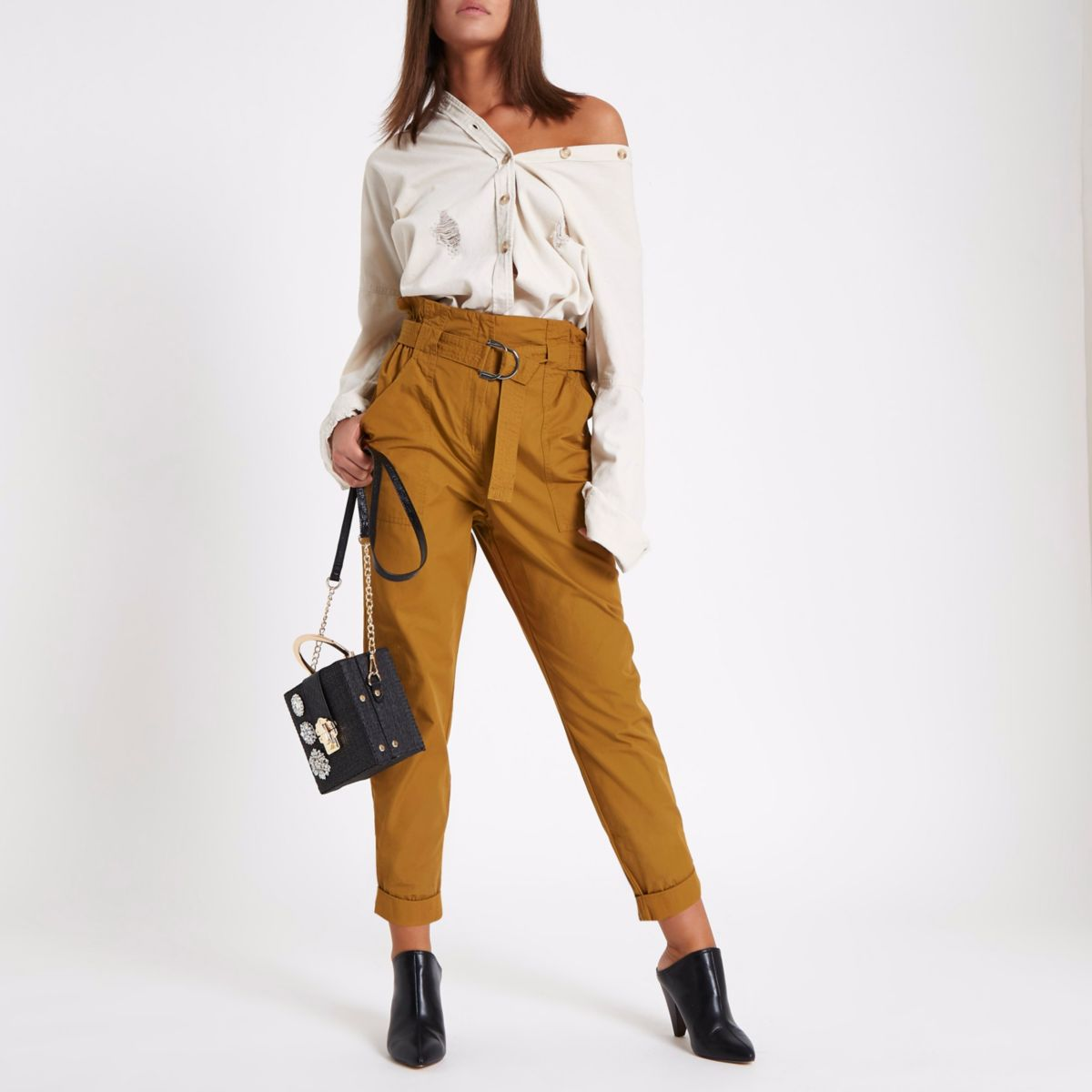 Rust yellow paperbag tapered trousers