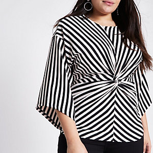 Plus black stripe twist front kimono top