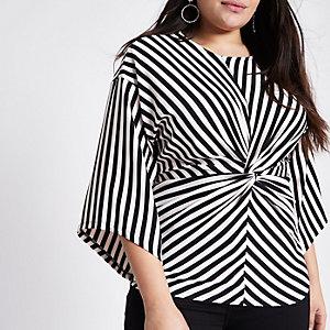 Plus black stripe twist front kimono top