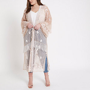 Plus nude embellished maxi kimono
