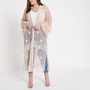 Plus – Kimono long orné nude