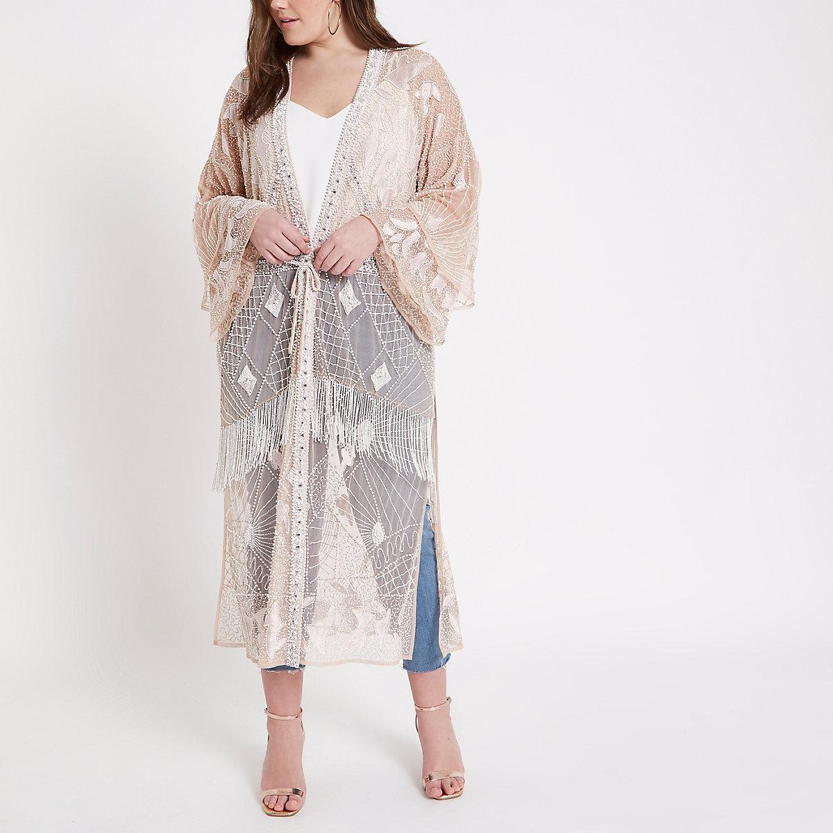 Plus beige embellished maxi kimono