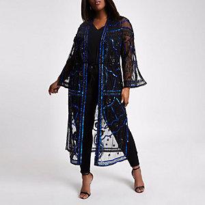 Plus black sequin embellished kimono