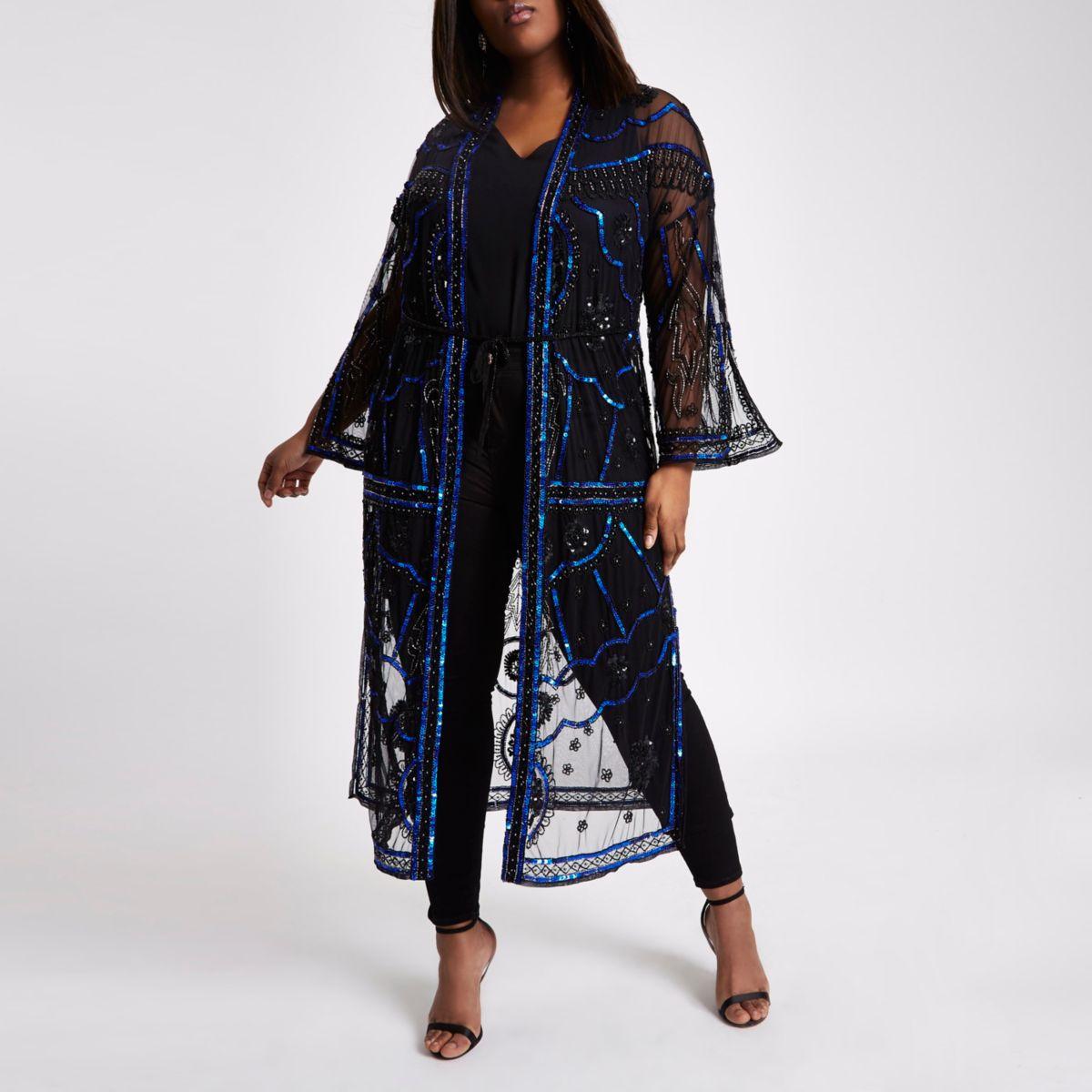 Plus Black Sequin Embellished Kimono by River Island