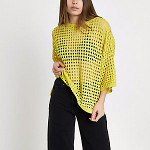 Yellow open stitch metallic top
