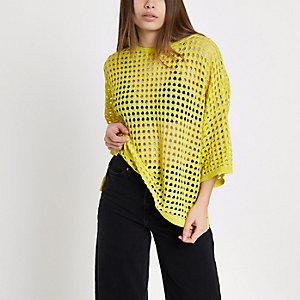 Yellow open stitch metallic top