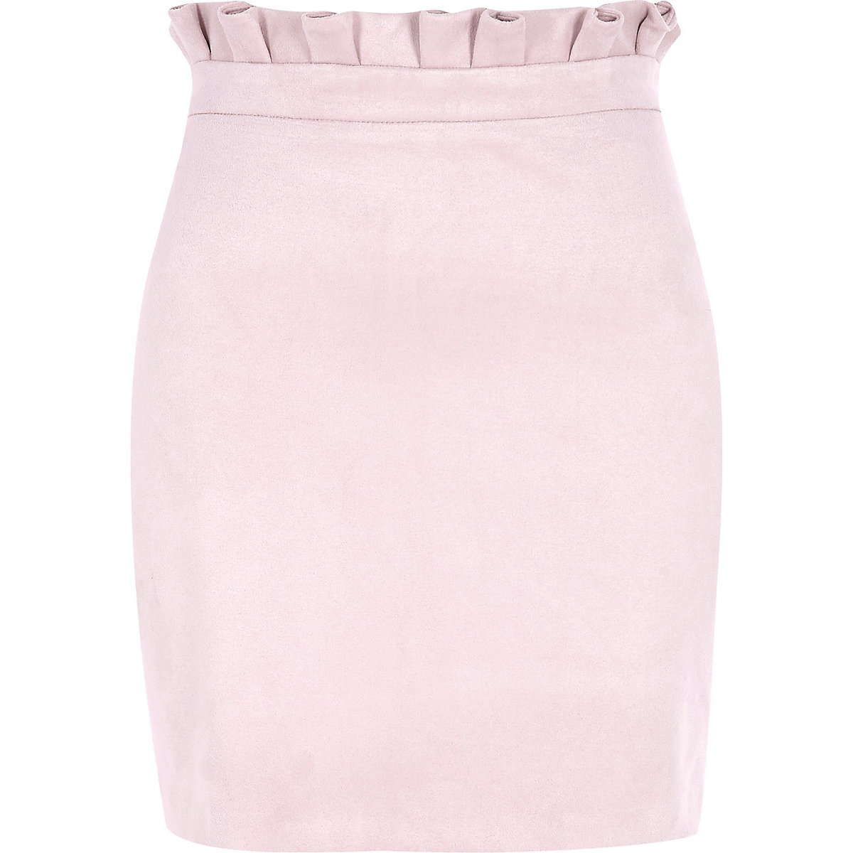 Pink faux suede paperbag mini skirt