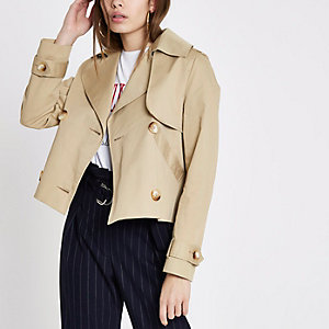 Beige crop trench coat