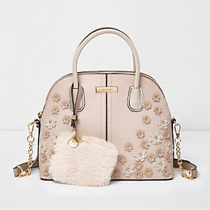 Light pink 3D flower faux fur pouch bag