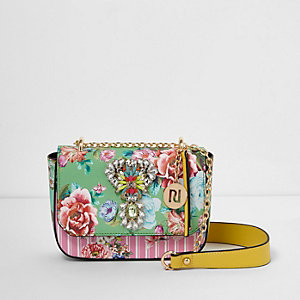 Green floral jewel embellished chain bag