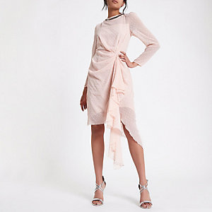 Pink flocked spot embellished dress