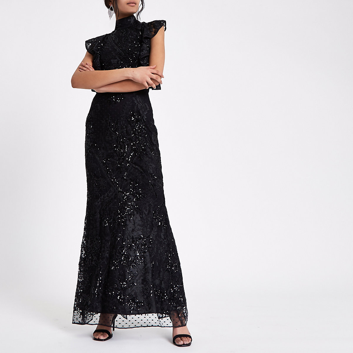 Black sequin embellished maxi dress