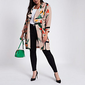 Plus pink fallaway floral D-ring duster coat
