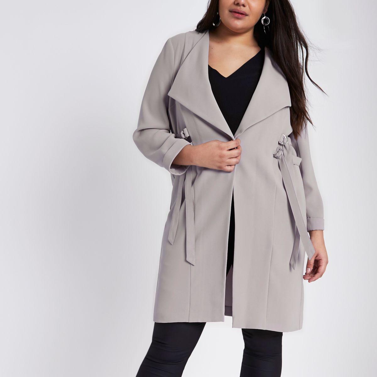 Plus grey D-ring duster coat