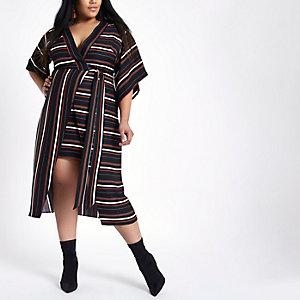 RI Plus - Zwarte gestreepte midi-kimonojurk