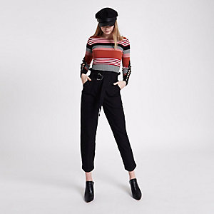 Black paperbag waist tapered leg pants