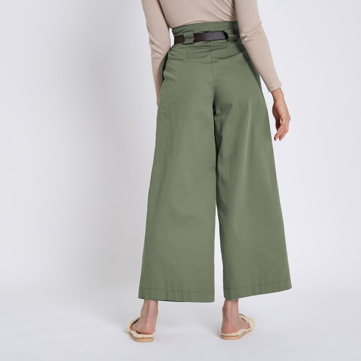 Green Paperbag Waist Wide Leg Trousers by River Island