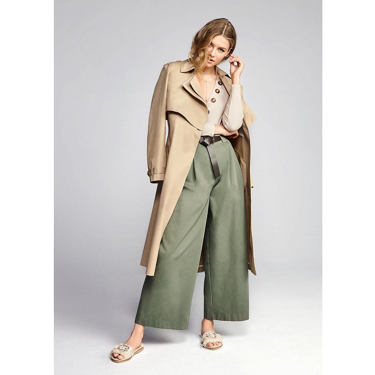Green paperbag waist wide leg trousers