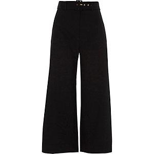 Jupe-culotte noire à ceinture